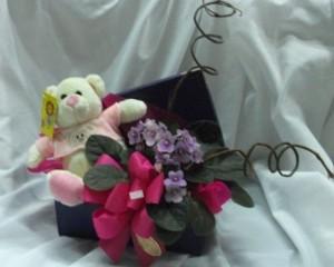 014 - Baú com urso e flores